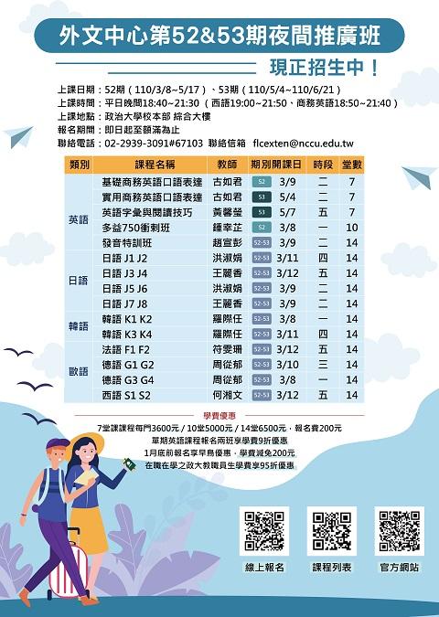 【外文中心】第52&53期夜間推廣班現正招生中(3月8-12日開課)